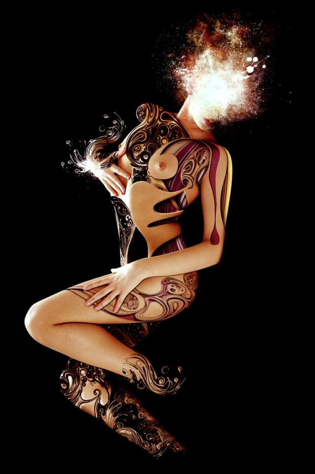 Nude woman with abstract tattoo cut-outs.