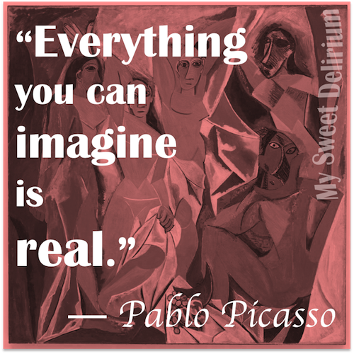 Pablo Picasso Quote over his painting Les Demoiselles d'Avignon